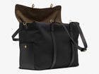 Measurements: L: 46 H: 34 W:18 cm Body: Water-repellent cotton and nylon blended canvas Fabric Comp.: PA 47% PL 20% CO 20% PC 6% PU 7% / 812 gr./rm. Trimmings: Black vegetable tanned full-grain bridle leather Lining: 100% cotton in Army colour Hardware: Solid brass w. varnish protection Zipper: Hand Polished YKK Excella Art No. MS116418 travel bag, or bend flaps down for a large, open city tote bag. A full-grain leather pocket on each gusset adds extra durability to the bottom corners.