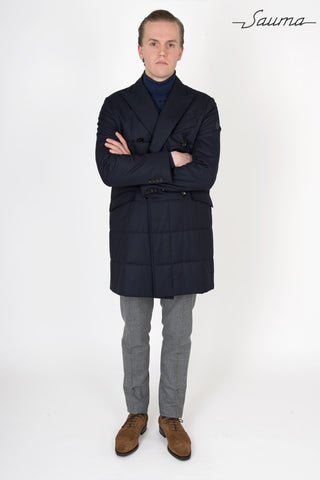 Quilted Thermal Overcoat - Navy