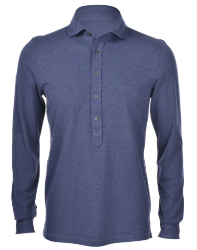 Gran Sasso Cotton Pop-Over Shirt / Midium Blue