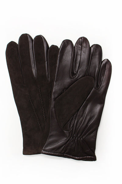 Amanda Christensen Suede and Leather Gloves Brown Pair