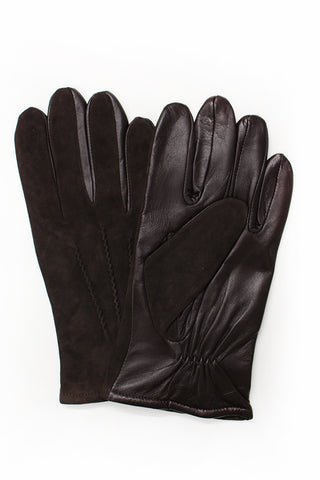 Suede and Leather Gloves - Brown