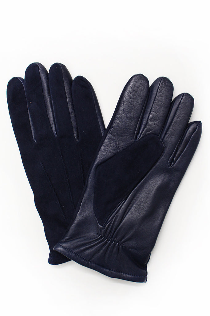 Suede and Leather Gloves - Navy