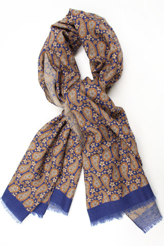 Paisley and Flower Scarf - Blue