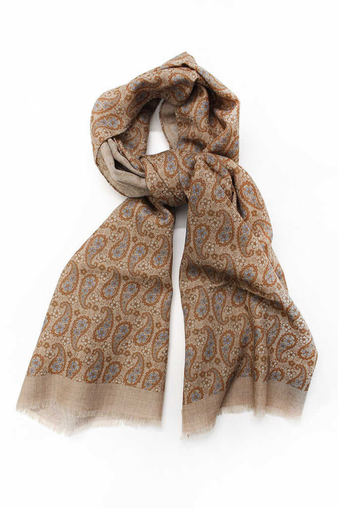 Paisley and Flower Scarf - Beige