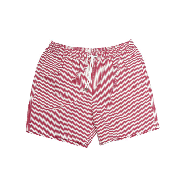 Atelier F&B Drawstring Swim Trunks - Seersucker Red