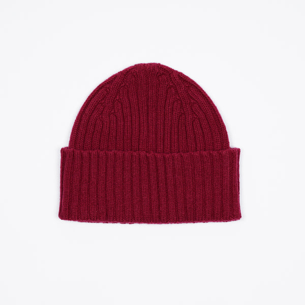 Drake´s Ribbed Lambswool Watch Cap / Red
