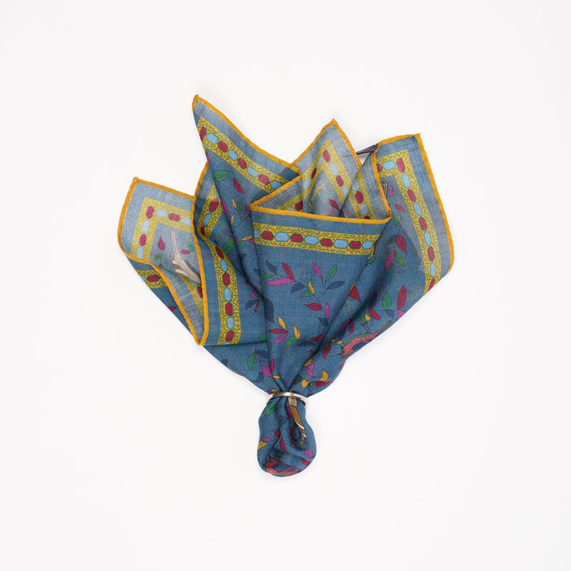 Drake´s Songbird Print Wool-Silk Pocket Square / Blue