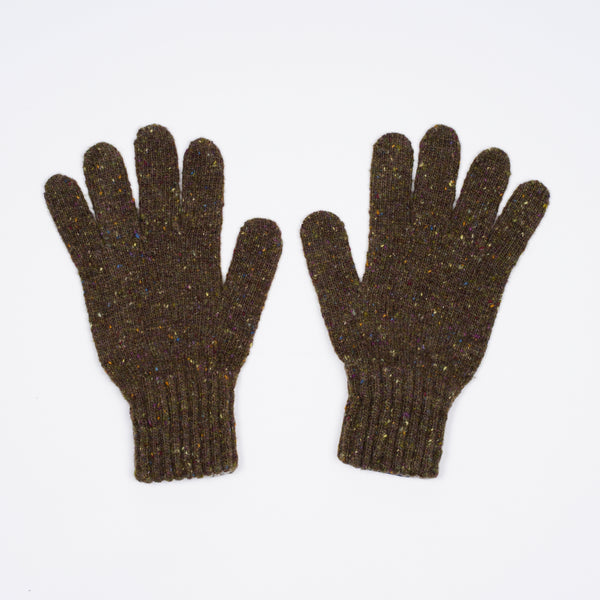 Drake´s Donegal Merino Knitted Gloves / Olive