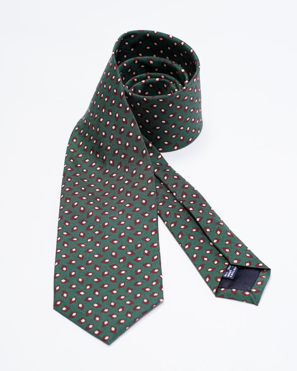 Drake´s Mini Medallion Print Silk Tie / Green