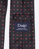 Drake´s Mini Medallion Print Saglia Silk Twill Tie / Navy