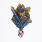 Egyptian Print Wool-Silk Pocket Square.   70% Wool 30% Modal 45cm x 45cm Made in Italy Drake´s Circus Print Wool-Silk Pocket Square / Blue