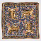 Drake´s tiger print is here again.  Stunning classic motif from the deep archives of Drake´s.  70% Wool 30% Modal 45cm x 45cm Made in Italy Archival Jumbo Tiger Print Wool-Silk Pocket Square / Blue