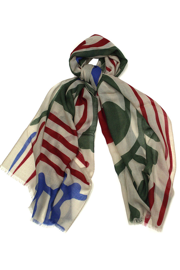 Copy of Abstract Red, Blue & Green Scarf