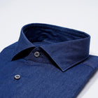 Ghirardelli 1911 Washed Line Denim Shirt. Relaxed shirt for smart dressing. Also very nice combined with a solid navy tie and jacket or suit. You do not have to feel and look stiff vearing a tie.  Slim fit  Fits true to the size. If in doubt of your size, please contact us HERE 100% cotton Removable collarbones Rounded single button cuffs Mod. L69 / B878 Article: Denim8 Col. 03