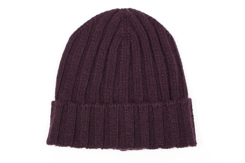 Pure Cashmere Beanie - Purple