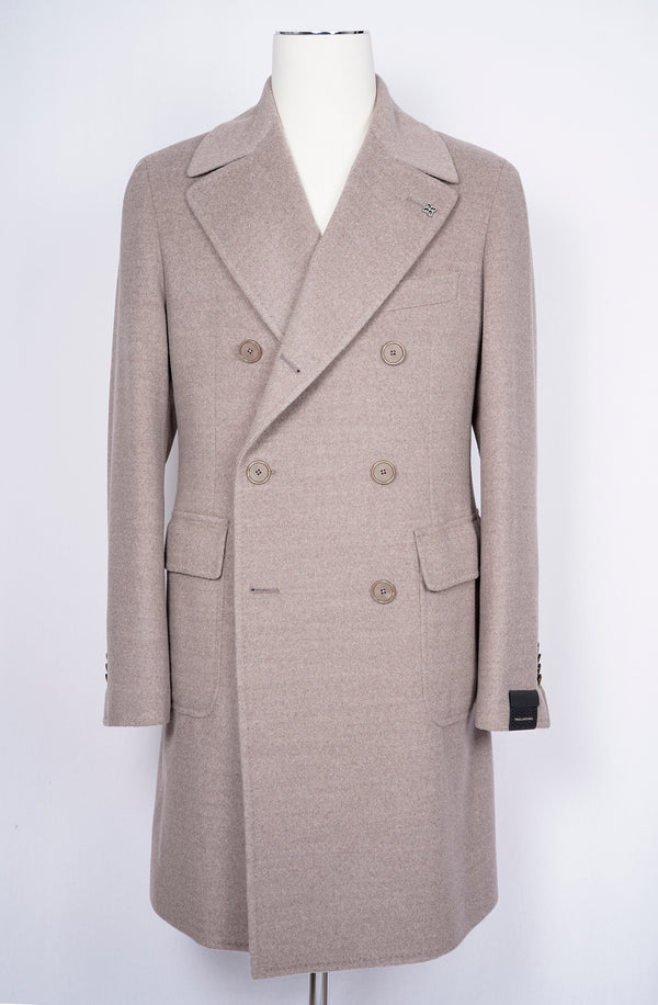 TAGLIATORE Double Breasted Overcoat 100% Wool / Neutral