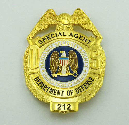 US DOD Department Of Defense Special Agent Badge Replica Movie Props With No.212
