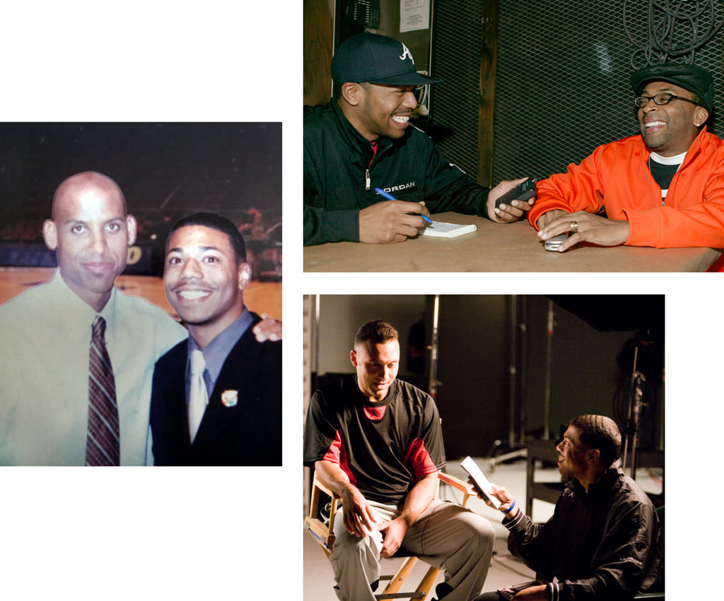 Collage of three images of journalist and founder of Sole Collector Anthony Gilbert. Clockwise from top left: with Reggie Miller, Spike Lee, and Derek Jeter