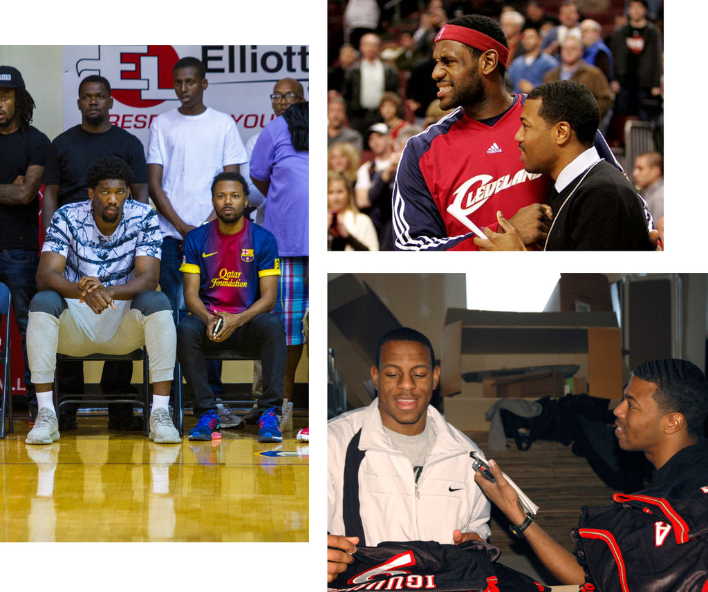 Collage of three images of journalist and founder of Sole Collector Anthony Gilbert. Clockwise from top left: with Joel Embiid, LeBron James, and Andre Iguodala