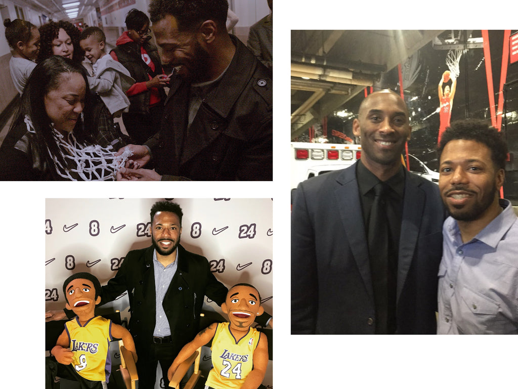 Journalist and founder of Sole Collector in three photos with Kobe Bryant and Dawn Staley