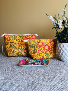 Mustard Wild Flower Cosmetic Bag