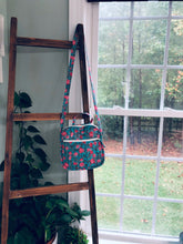 Load image into Gallery viewer, Crossbody in Teal Pink flowers