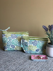 Olive & Blue Dotted Cosmetic Bag