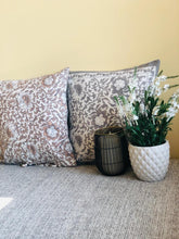 Load image into Gallery viewer, Grey Peony Cushions (Set of 2)