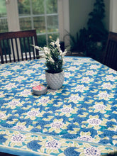 Load image into Gallery viewer, Botanical Blue Table Cloth