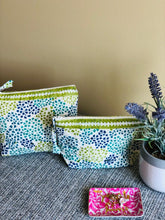 Load image into Gallery viewer, Olive & Blue Dotted Cosmetic Bag