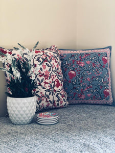 Moroccan Grey & Red Flower Cushions (Set of 2)