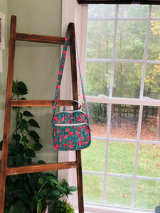Crossbody in Teal Pink flowers
