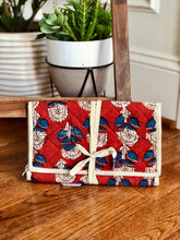 Load image into Gallery viewer, Rust Floral Motifs Jewelry Bag