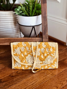 Mustard Paisley Jewelry Bag