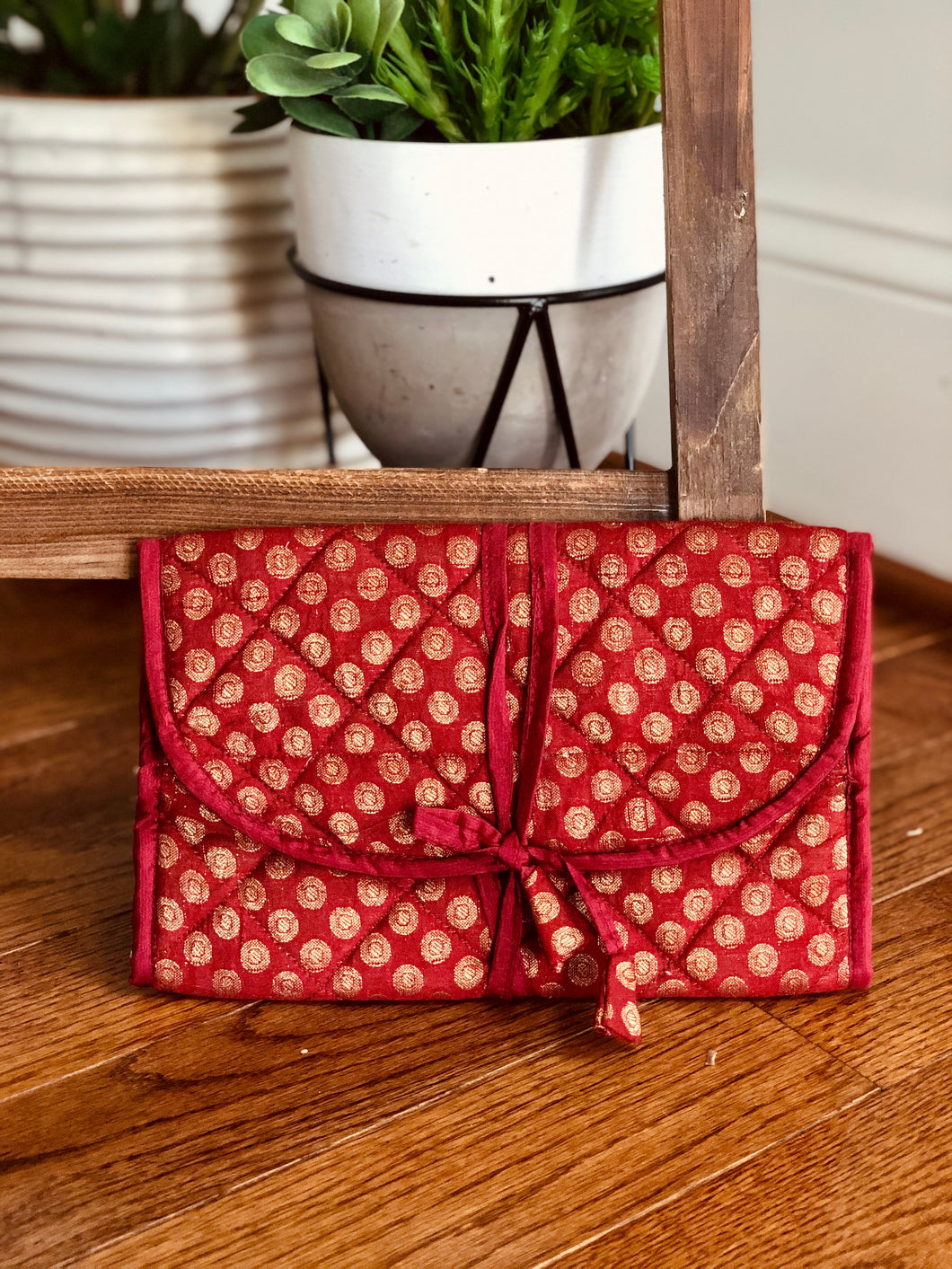 Red Brocade Jewelry Bag