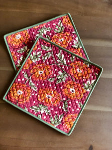 Raspberry Floral Trivet (Set of 2)