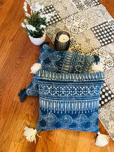 Load image into Gallery viewer, Indigo Dabu Printed Cushion With Blue Tassels