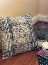 Load image into Gallery viewer, Blue Katha Stitch Cushion