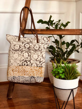 Load image into Gallery viewer, Mustard Grey Flower Tote (S)