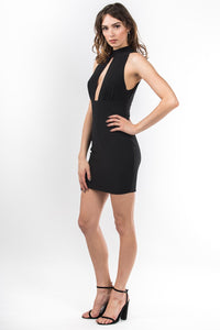 Cali Keyhole Open Back Mini Dress in Black