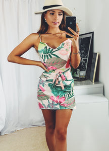 Tropical Mini Summer Wrap Dress