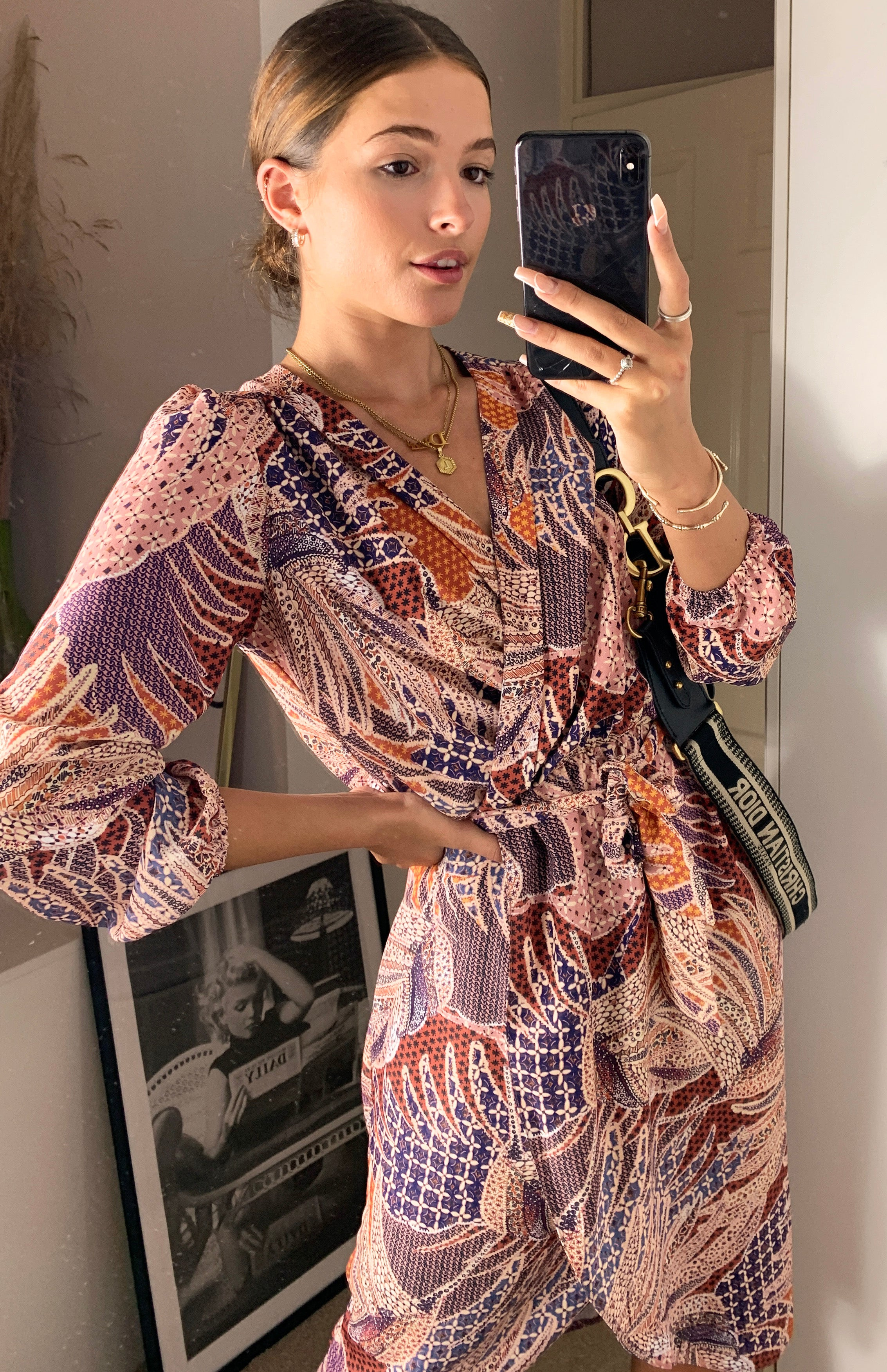 Oslo Leaf Patchwork Long Sleeve Midi Wrap Dress