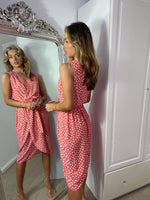 Load image into Gallery viewer, Midi Summer Wrap Dress In Coral Spot