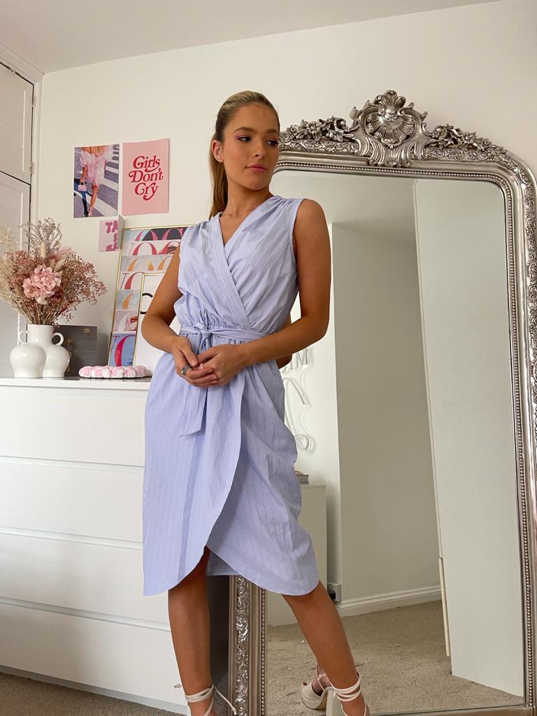 Cotton Midi Summer Wrap Dress In Baby Blue Stripe