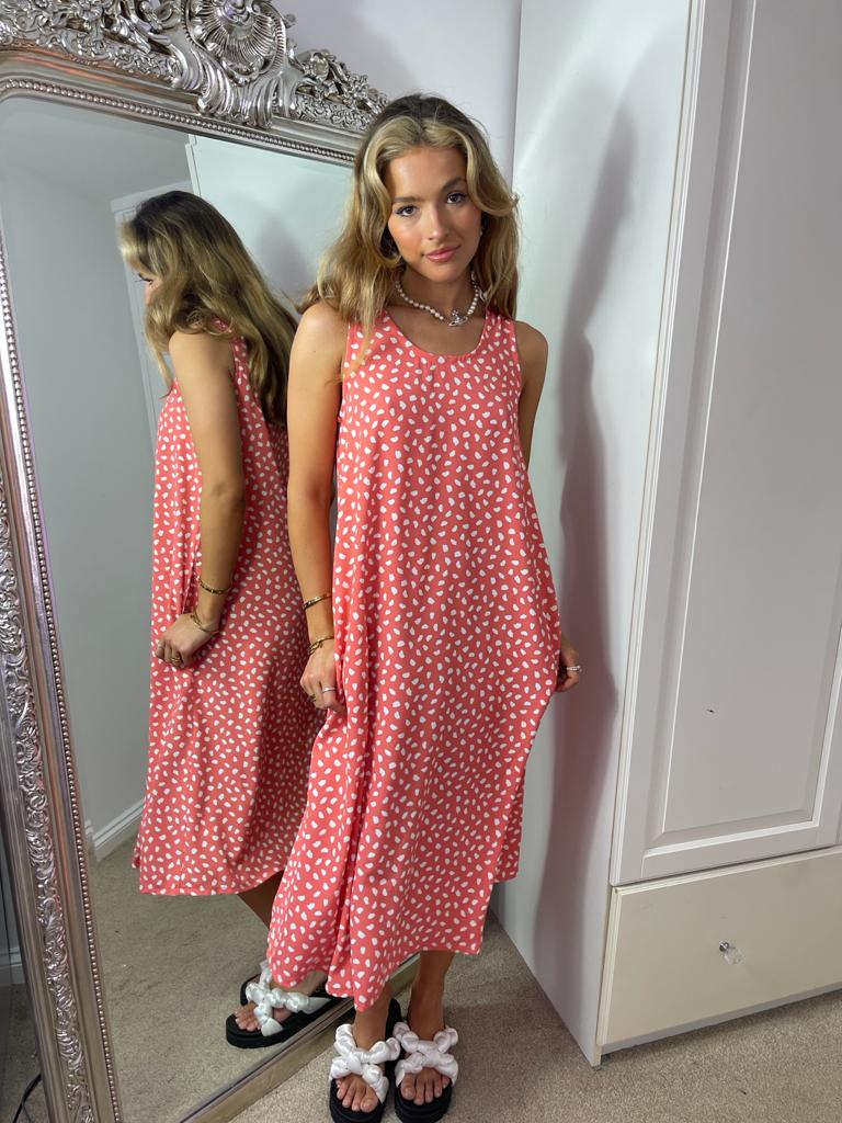 Relaxed Fit Midi Summer Dress In Coral Spot