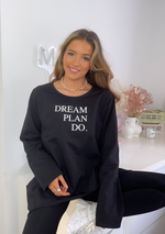 Załaduj obraz do przeglądarki galerii, Dream Plan Do Slogan Sweat Tunic In Black