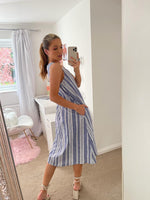 Load image into Gallery viewer, Linen Midi Summer Dress In White And Blue Stripe