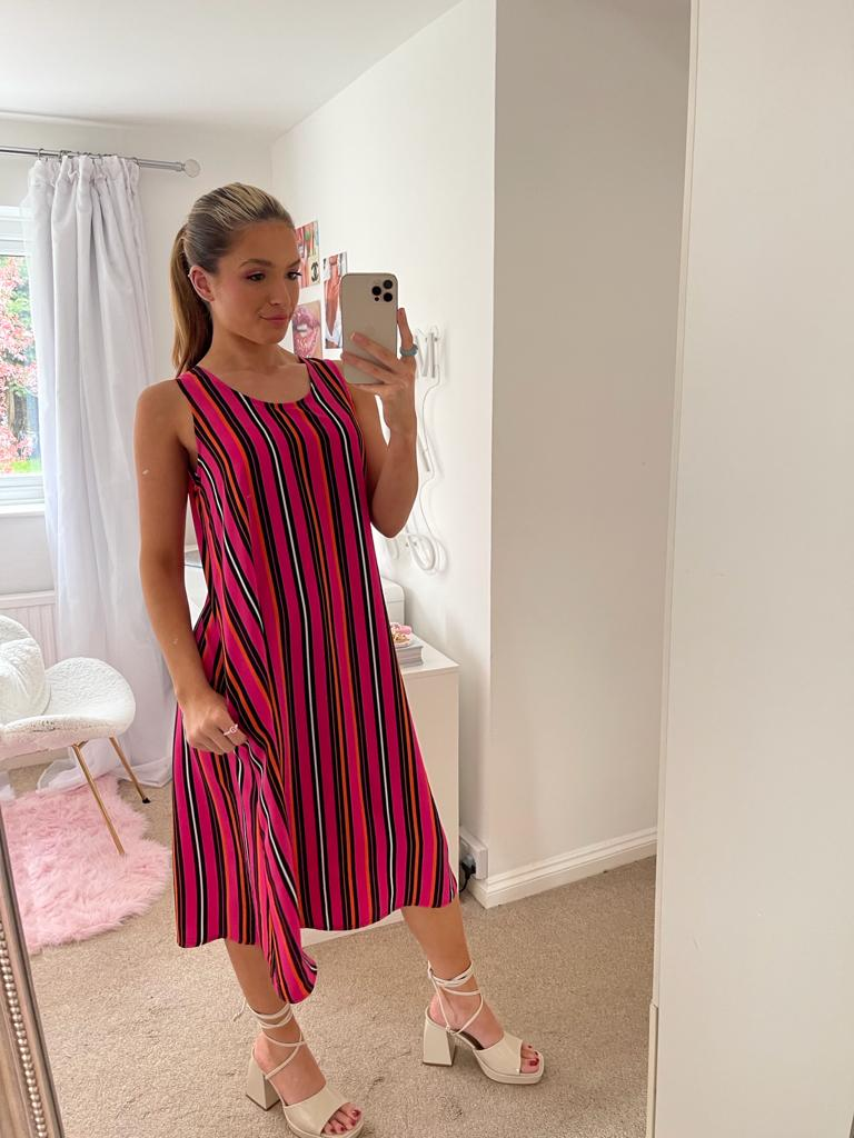 Relaxed Fit Midi Summer Dress In Multi Pink Stripe