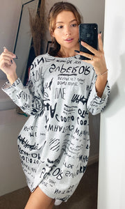 Printed Oversize Loungewear Sweatshirt Dress Grey