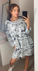 Load image into Gallery viewer, Printed Oversize Loungewear Sweatshirt Dress Grey